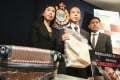 (From left) Superintendent Ng Wing-sze, Chief Superintendent Ma Ping-yiu and Chief Inspector Cheung Pak-kit from the Narcotics Bureau with 20kg of cocaine seized from a 15-year-old drug mule. Picture: Dickson Lee