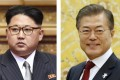 Combined photo shows North Korean leader Kim Jong-un (L) and South Korean President Moon Jae In. The two Koreas agreed to hold a summit at the truce village of Panmunjom in late April and to establish a hotline between the two leaders, the South Korean government said on March 6, 2018. (Kyodo) ==Kyodo