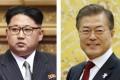 North Korean leader Kim Jong-un and South Korean President Moon Jae-in. Photo: Kyodo