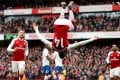 Arsenal's Pierre-Emerick Aubameyang celebrates scoring his first for the Gunners. Photos: Reuters
