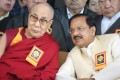"""Tibetan spiritual leader the Dalai Lama (left) sits beside Mahesh Sharma, India's culture and tourism minister, at the """"Thank You India"""" event organised by the exiled Tibetan government on Saturday. Photo: EPA-EFE"""