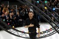 Belgian fashion designer Kris Van Assche acknowledges the audience at the end of the men's spring/summer 2017 collection fashion show in Paris. Van Assche takes the reins at Berluti today.Photo: AFP