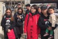 Li Wenzu (in red coat) begins her march from Beijing to Tianjian to find out what happened to her husband, Wang Quanzhang, a human rights lawyer who has been missing since August 2015. Photo: Twitter