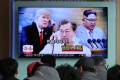 A TV screen at the Seoul Railway Station shows images of North Korean leader Kim Jong-un (right), South Korean President Moon Jae-in (centre) and US President Donald Trump in a news report, on March 7. Seoul, Washington and Beijing should focus on producing a settlement to the North Korean nuclear issue that is acceptable to all. Photo: AP