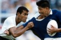 Waisale Serevi was known for his brilliance with ball in hand, but he tackled when he had to. Photo: Robert Ng