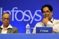 Infosys founding member Narayana Murthy (left) and lead independent director of Infosys board of directors K.V. Kamath in Bangalore. Photo: AFP