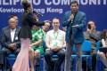 Philippine President Rodrigo Duterte sings at an event with members of the Filipino community in Hong Kong. Photo: EPA