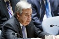 United Nations Secretary-General Antonio Guterres addresses a UN Security Council meeting called by Russia in response to the escalating situation in Syria on Friday. Photo: EPA/EFE