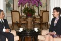 Minister of Education Chen Baosheng (left) meets Chief Executive Carrie Lam at Government House. Photo: Handout