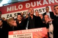 Milo Djukanovic speaks during a meeting with his supporters in Podgorica, Montenegro, on Sunday. Photo: EPA