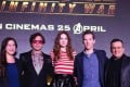 Iron Man actor Robert Downey Jr (second left) Karen Gillan, who plays Nebula (centre), and Doctor Strange star Benedict Cumberbatch (second right)– flanked by executive producer Trinh Tran (left) and co-director Joe Russo (right) – were in Singapore to promote the Marvel film 'Avengers: Infinity War', which will be released worldwide from April 25. Photo: Photo: Marina Bay Sands Instagram @marinabaysands