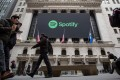 Spotify's shares ended up 12.9 per cent higher on its first day of trading on the New York Stock Exchange, on April 3, a smooth debut that could pave the way for other companies looking to go public without the aid of Wall Street underwriters. Photo: Bloomberg