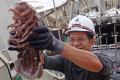 SJADES 2018 member Muhammad Dzaki Safaruan holding a newly discovered giant sea cockroach. Photo: SJADES 2018