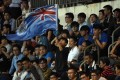 An Eastern fan waves the old British colonial flag of Hong Kong during an AFC Champions League match, at Mong Kok Stadium in February 2017. Photo: AFP