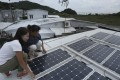 Solar panels on the roof of a home in Tai O. Photo: May Tse