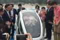 Lawmaker Christopher Cheung makes it into the one-man drone. Photo: Tony Cheung
