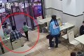 Surveillance footage captures the woman tripping the child. Photo: Thepaper.cn