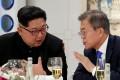North Korean leader Kim Jong-un and South Korean President Moon Jae-in. Photo: Reuters