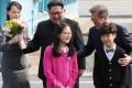 North Korean leader Kim Jong-un and South Korean President Moon Jae-in at the truce village of Panmunjom. Photo: Reuters