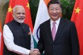Indian Prime Minister Narendra Modi with Chinese President Xi Jinping in Wuhan, the capital of central China's Hubei Province. Photo: Xinhua