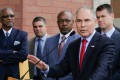 Environmental Protection Agency Administrator Scott Pruitt speaks at a news conference in April last year, with Pasquale 'Nino' Perrotta seen second from left. Perrotta, Pruitt's security chief, has resigned amid anger over alleged overspending on Pruitt's security detail. Photo: AP