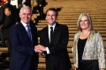 epa06704009 President of France Emmanuel Macron meets with Australia's Prime Minister Malcolm Turnbull and his wife Lucy Turnbull at the Sydney Opera House in Sydney. Photo: EPA