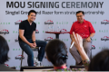 Razer's founder and CEO Mr Tan Min-Liang and Singtel's International Group CEO Mr Arthur Lang at the MoU signing on Wednesday. Photo: Razer/Raymond Lau