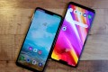 Two LG G7s next to each other. The device has a 6.1-inch LCD display with a notch at the top that houses an 8-megapixel selfie camera, earpiece and proximity sensor. Photo: Ben Sin