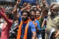 Hindu activists protest outside a mosque in Amritsar in July 2017, following an attack on Hindu pilgrims in Kashmir, the country's only Muslim-majority state. Picture: AFP