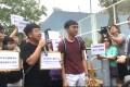 Joshua Wong (left) and members of Demosisto had a petition for Kevin Yeung. Photo: Facebook