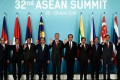 The 10 leaders of Asean took a tough stance on trade protectionism in the West when they met in Singapore. Photo: AP