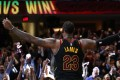 Cleveland Cavaliers' LeBron James celebrates after hitting the game winning shot to beat the Toronto Raptors in game three of the Eastern Conference semi-finals. Photo: AFP