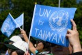 A pro-Taiwan protester demonstrates outside the United Nations offices on the opening day of the World Health Assembly in Geneva last year. Photo: AFP