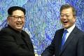 President Moon Jae-in gave the North Korean leader an economic blueprint at their summit last month in Panmunjom. Photo: Inter-Korean Summit Press Corps/ AFLO/ Zuma Press/ TNS