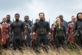 Marvel Cinematic Universe characters played by (front, from left) Danai Gurira, Chadwick Boseman, Chris Evans, Scarlet Johansson and Sebastian Stan in a scene from Avengers: Infinity War. Photo: Chuck Zlotnick/Marvel Studios/AP