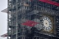The clockface of Big Ben, with the hands removed, is pictured during ongoing renovations to the Tower and the Houses of Parliament, in central London. Photo: AFP