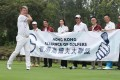TV presenter Natalis Chan Pak-cheung poses for a photo with fellow members of the newly formed Hong Kong Alliance of Golfers at the Hong Kong Golf Club in Fanling in April. The alliance was set up amid intense debate on the use of the golf courses for housing. Photo: Winson Wong