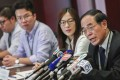 Hong Kong Medical Association vice-president Dr Ho Chung-ping (far right) expressing concerns about what the watchdog's ruling would mean for local professionals in the sector. Photo: Jonathan Wong
