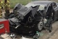 A Tesla Model S with an Autopilot feature slammed into the back of a fire department mechanic's truck at a stop light on Friday, apparently without braking. Photo: South Jordan Police Department via AP