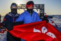 Blind runner Gary Leung (left) and Andy Chik after completing the North Pole Marathon.