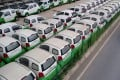 Electric vehicles parked in Wuhan, central China. The country is the largest market for electric cars. Photo: AFP