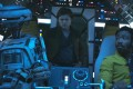 A still from Solo: A Star Wars Story with (from left) droid L3-37 (voiced by Phoebe Waller-Bridge), Alden Ehrenreich as Han Solo and Donal Glover as Lando Calrissian.