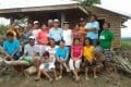 Viswa Nathan (centre) and his wife Beboat with friends and neighbours in Masbate, Philippines. Photo: Viswa Nathan