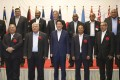 Japanese Prime Minister Shinzo Abe with the leaders of Pacific island countries at their summit in the northeastern Japan city of Iwaki. Photo: Kyodo
