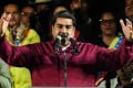 Venezuelan President Nicolas Maduro addresses supporters after the election result is released. Photo: AFP