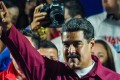 Venezuelan President Nicolas Maduro gestures after being re-elected on Sunday in a poll rejected as invalid by his rivals. Photo: AFP