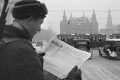 A man reads an issue of Pravda newspaper in Moscow, Russia, December 1941. Photo: Wikipedia Commons