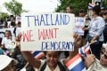 Protesters in Bangkok mark the fourth year of junta rule. Photo: AFP