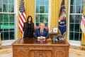 Reality TV star Kim Kardashian with US President Donald Trump in the Oval Office of the White House on Wednesday, in a photo tweeted by Trump. Photo: Twitter / @realdonaldtrump