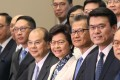 Hong Kong Chief Executive Carrie Lam presents her cabinet in Tamar in June 2017. Photo: Xiaomei Chen